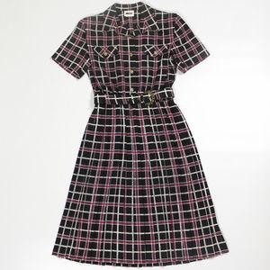 Leslie Fay Dress Vintage Tea Length Pleated Skirt